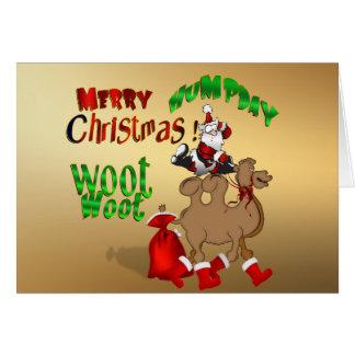 Cartão Ouro alegre Woot Woot do camelo do Natal do dia de