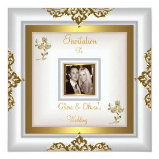 Cartão Ouro branco floral ornamentado 3 do casamento