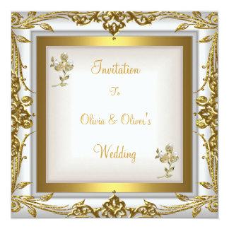 Cartão Ouro branco floral ornamentado do casamento
