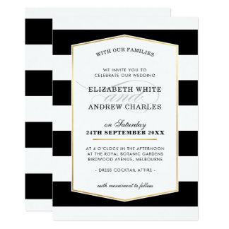 Cartão Ouro branco preto moderno chique da listra do
