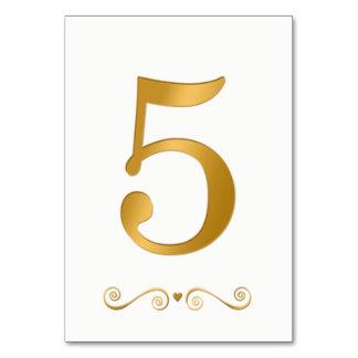 Cartão Ouro brilhante elegante número metálico 5 do falso