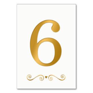 Cartão Ouro brilhante elegante número metálico 6 do falso