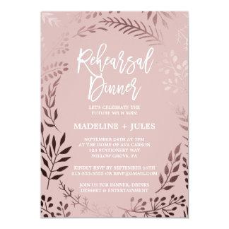 Cartão Ouro cor-de-rosa elegante e jantar de ensaio