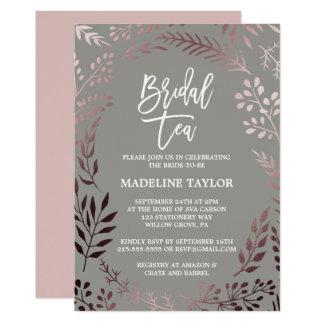 Cartão Ouro cor-de-rosa elegante e tea party nupcial