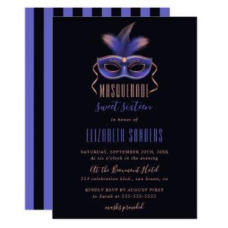 Cartão Ouro cor-de-rosa elegante & partido azul do doce