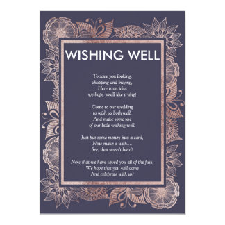 Cartão Ouro cor-de-rosa floral e azuis marinhos que