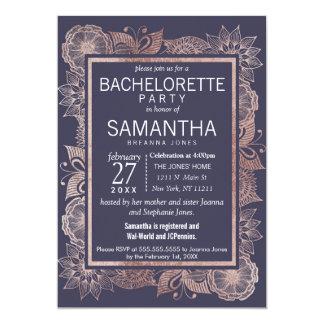Cartão Ouro cor-de-rosa floral e festa de solteira dos