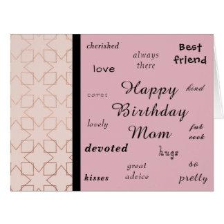 Cartão Ouro cor-de-rosa. Mamã do feliz aniversario!