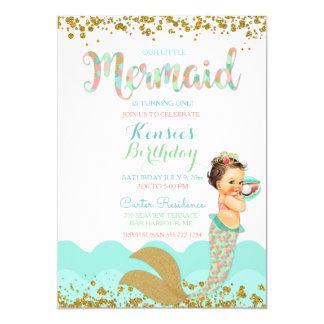 Cartão Ouro coral da hortelã do pêssego do bebé da sereia