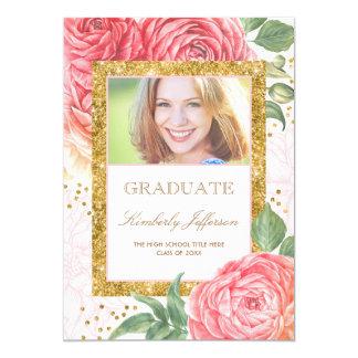 Cartão Ouro da aguarela das flores e graduação