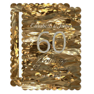 Cartão Ouro da festa de aniversário do casamento de