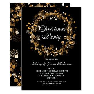 Cartão Ouro da grinalda da festa natalícia do Natal