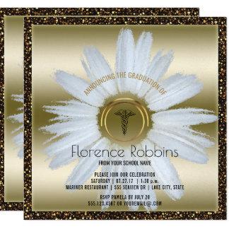 Cartão Ouro da margarida da graduação | da enfermeira do