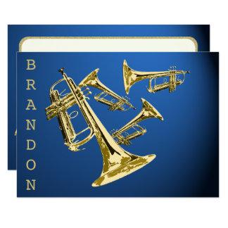 Cartão Ouro da música da trombeta e obrigado azul você
