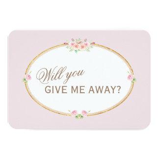 Cartão Ouro das flores da aguarela você dar-me-á afastado