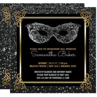 Cartão Ouro de prata do doce 16 da bola de mascarada do