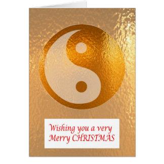 Cartão OURO DE YIN YANG:   Feliz Natal NewYear feliz