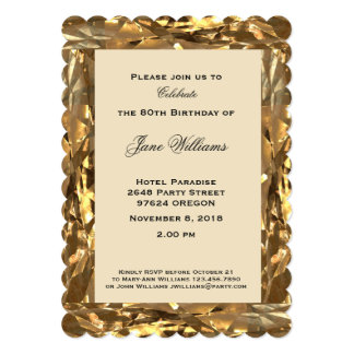 Cartão ouro do aniversário do aniversário do 80 elegante