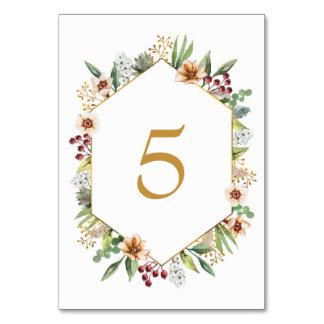 Cartão Ouro do casamento da aguarela do Wildflower do