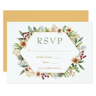 Cartão Ouro do casamento da aguarela dos Wildflowers do