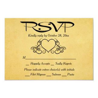 Cartão Ouro do coração do vintage & festa de casamento
