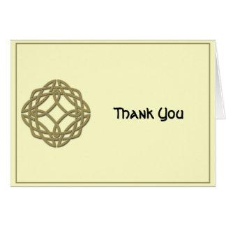 Cartão Ouro do nó da eternidade e obrigado celtas do