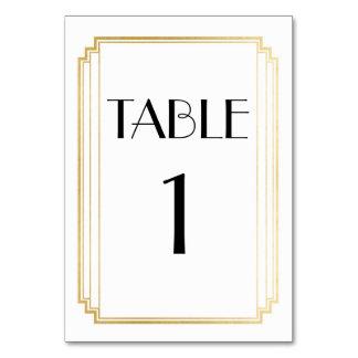 Cartão Ouro do número da mesa do art deco & casamento