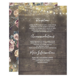 Cartão Ouro e convidado rústico malva da informação do