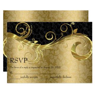 Cartão Ouro e damasco preto RSVP