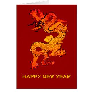 Cartão Ouro e dragão alaranjado por o ano novo chinês