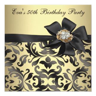Cartão Ouro e festa de aniversário preta do damasco 50th