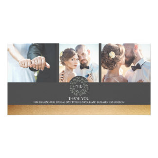 Cartão Ouro e obrigado floral cinzento do casamento da