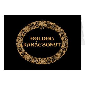 Cartão Ouro-efeito húngaro da grinalda do Natal, preto