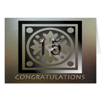 Cartão Ouro elegante do 15o aniversário do empregado