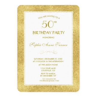 Cartão Ouro elegante & festa de aniversário branca da