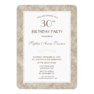 Cartão Ouro elegante & partido de aniversário de 30 anos