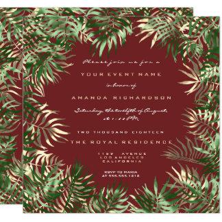 Cartão Ouro em folha de palmeira verde tropical do Sepia