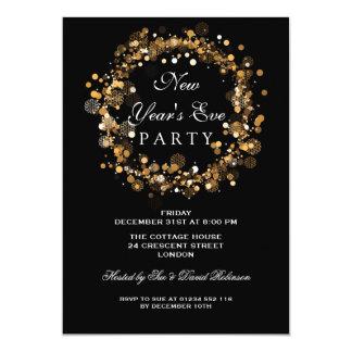 Cartão Ouro festivo da grinalda do partido da véspera de