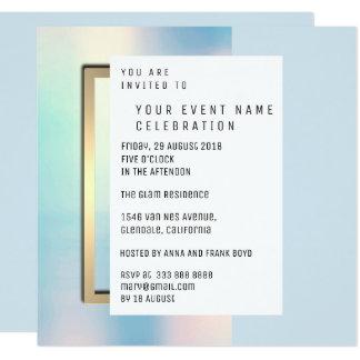 Cartão Ouro geométrico mínimo perolado celestial azul