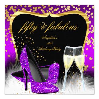 Cartão Ouro magenta roxo fabuloso Champagne de 50