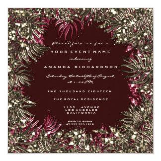 Cartão Ouro Marsala dos cristais do quadro das folhas da