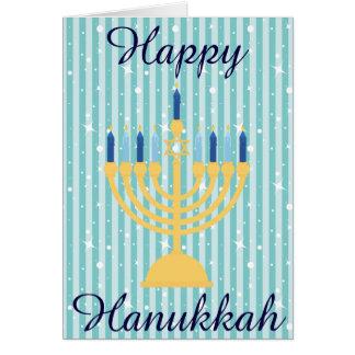 Cartão Ouro Menorah Hanukkah feliz