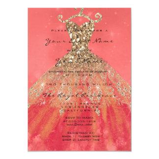 Cartão Ouro nupcial do coral da aguarela do brilho do