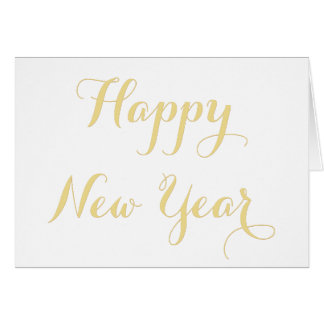 Cartão Ouro o feliz ano novo elegante DIY personalizado
