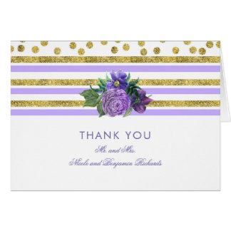 Cartão Ouro, obrigado floral roxo do casamento você