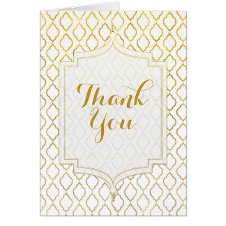 Cartão Ouro & obrigado marroquino elegante branco do