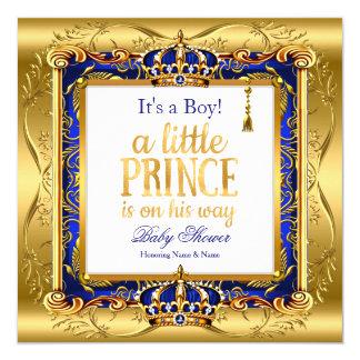 Cartão Ouro ornamentado azul do chá de fraldas do