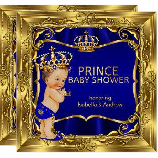 Cartão Ouro ornamentado azul do menino do príncipe chá de