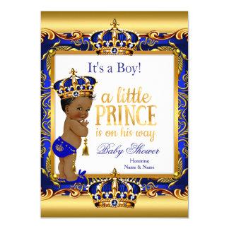 Cartão Ouro ornamentado azul do príncipe chá de fraldas