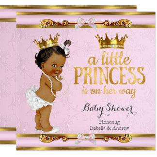 Cartão Ouro pequeno étnico do rosa da princesa chá de